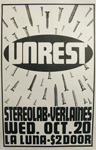 UNREST STEREOLAB with VERLAINES October 20 Portland Oregon show poster