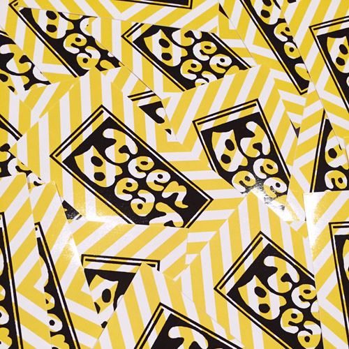 Teen Beat light yellow stripes vinyl sticker