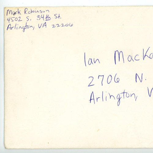 Letter written by Mark Robinson to Ian MacKaye, envelope